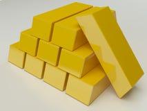 Lingotto brillante dell'oro Immagini Stock