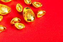 Lingotto cinese dell'oro (Sycees, YuanBao) Fotografie Stock Libere da Diritti