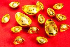 Lingotto cinese dell'oro (Sycees, YuanBao) Immagini Stock