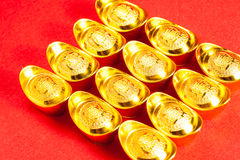 Lingotto cinese dell'oro (Sycees, YuanBao) Fotografia Stock