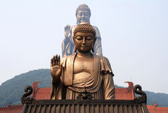 Lingshan Grand Buddha. Located at the south of the Maji Mountain, Wuxi, Jiangsu Province, the Grand Buddha and the famous Xiangfu temple nearby are the well Stock Image