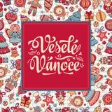 Lingua ceca Vesele Vanoce Messaggio di natale Fotografia Stock