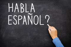 Lingua d'apprendimento spagnola Fotografia Stock Libera da Diritti