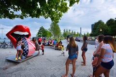 Lingua e labbra famose di The Rolling Stones al pilastro della marina di Chicago Immagine Stock Libera da Diritti
