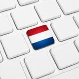 Lingua olandese o concetto di web dei Paesi Bassi Bottone della bandiera nazionale Fotografia Stock Libera da Diritti