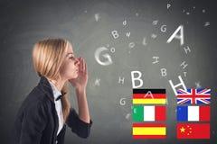 Lingua straniera. Apprendimento dei concetti, parlante, Fotografia Stock Libera da Diritti