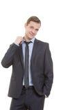 Linguagem corporal homem no terno de negócio isolado sobre Fotos de Stock Royalty Free