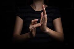 Linguagem gestual de Jesus para o surdo foto de stock