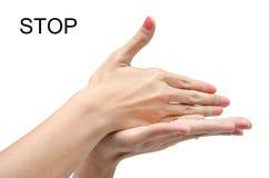 Linguaggio dei segni dell'americano di ASL della mano della donna Fotografie Stock