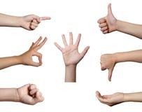 Linguaggio del corpo di gesto di mano Fotografia Stock Libera da Diritti
