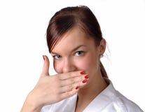 Linguaggio del corpo giapponese: Ritratto timido della ragazza Fotografia Stock