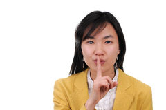 Linguaggio del segnale manuale di uso della donna di Shhhhh? Asia Immagine Stock