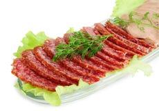 Linguetta affumicata di manzo e della salsiccia Fotografia Stock