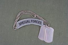 Linguetta delle forze speciali dell'ESERCITO AMERICANO con la medaglietta per cani sull'uniforme di verde verde oliva Fotografie Stock Libere da Diritti
