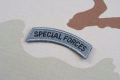 Linguetta delle forze speciali dell'ESERCITO AMERICANO sull'uniforme del cammuffamento Fotografia Stock