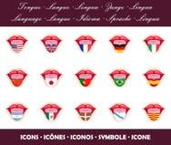 linguette Icone di lingua con le bandiere di paese Illustrazione di Stock