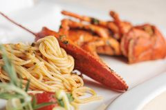 Linguine макаронных изделий морепродуктов омара Стоковое Фото