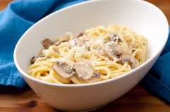 Linguine alfredo with mushrooms Royalty Free Stock Images