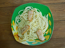 Linguine with bacon and cheese Stock Image