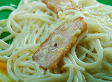 Linguine with bacon and cheese Royalty Free Stock Image