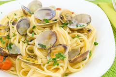 Linguine with clams Stock Photos