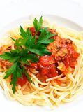 Linguine with clams and tomato sauce. Beautiful image of italian traditional recipe: linguine pasta with clams and tomato sauce Royalty Free Stock Photo