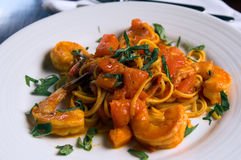 Linguine Con Scampi royalty free stock photo