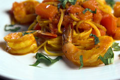 Linguine Con Scampi Royalty Free Stock Photos