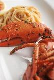Linguine della pasta dei frutti di mare dell'aragosta Immagini Stock