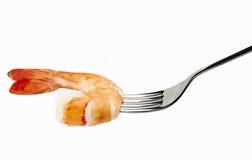 Linguine do camarão em uma forquilha Foto de Stock Royalty Free