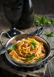 Linguine with meat tomato sauce. Royalty Free Stock Photography
