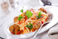 Linguine With Meatballs Royalty Free Stock Photo