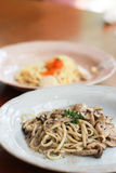 Linguine With Mushrooms. Pasta, linguine with mushrooms in a light grey teal dish Royalty Free Stock Photos