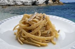 Linguine pasta with anchovies stock image