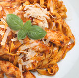 Linguine Pasta with Chicken. Pieces in a tomato sauce Stock Photos