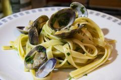 Linguine pasta with clams royalty free stock image
