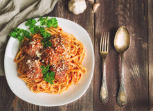 Linguine pasta with meatballs in tomato sauce and parsley Royalty Free Stock Photos