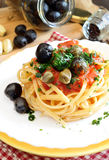 Linguine pasta olive and capers Royalty Free Stock Photos