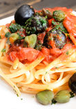 Linguine pasta olive and capers Stock Photography