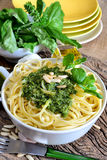 Linguine pasta by pesto Royalty Free Stock Image