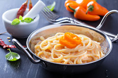 Linguine pasta with roasted red pepper sauce Royalty Free Stock Photos