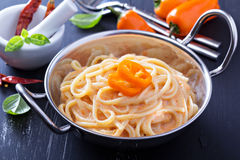 Linguine pasta with roasted red pepper sauce Royalty Free Stock Images