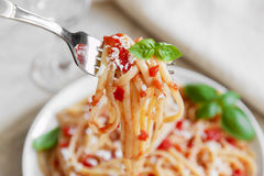 Linguine pasta with tomato sauce and cheese Stock Photos