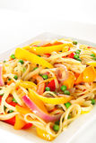 Linguine pasta with vegetables angle vertical. Shot of linguine pasta with vegetables angle vertical Royalty Free Stock Photo