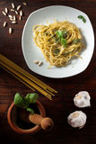 Linguine with Pesto Stock Images