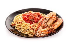 Linguine with scampi Stock Photos