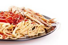 Linguine with scampi Royalty Free Stock Photography