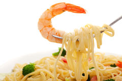 Linguine and shrimp Royalty Free Stock Images