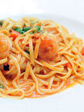 Linguine with Shrimp. In tomato sauce Royalty Free Stock Images