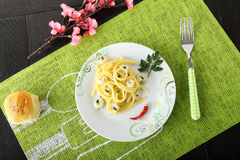 Linguine with shrimp and parsley Royalty Free Stock Images